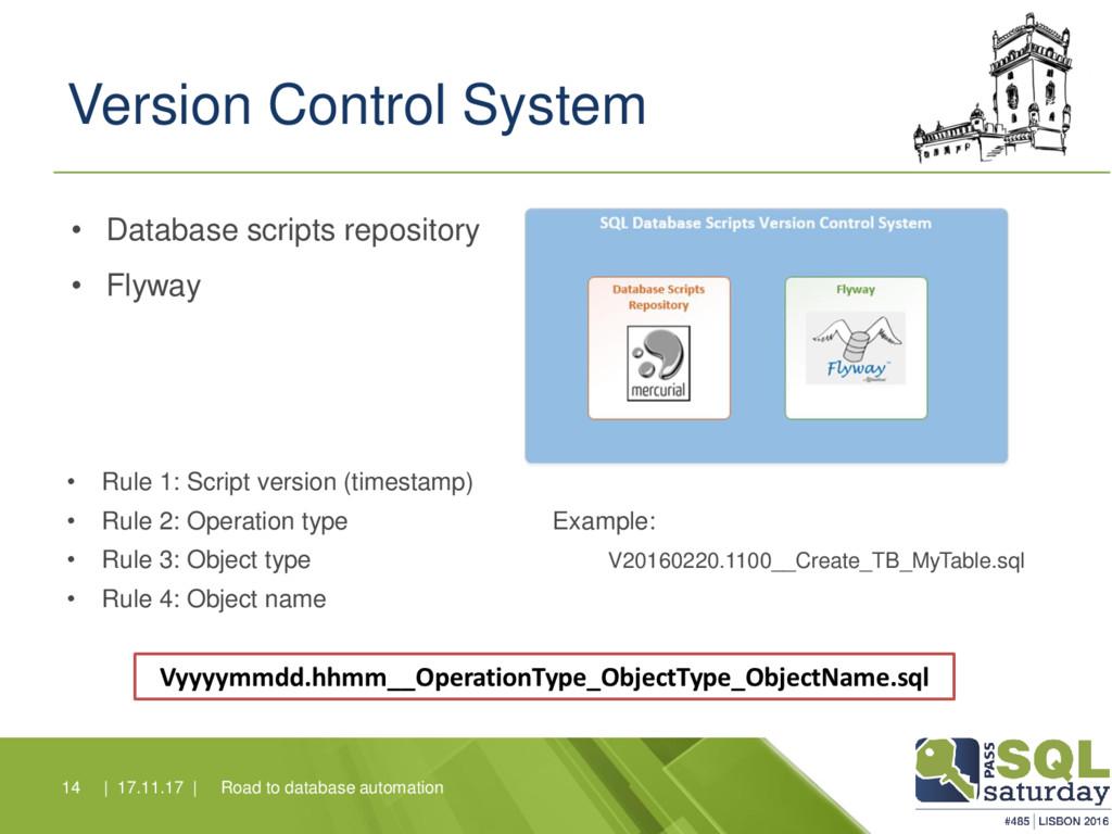 Version Control System • Rule 1: Script version...