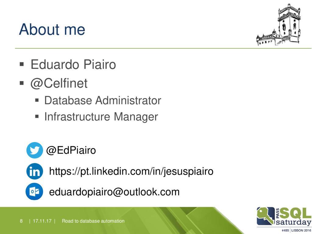 About me ▪ Eduardo Piairo ▪ @Celfinet ▪ Databas...