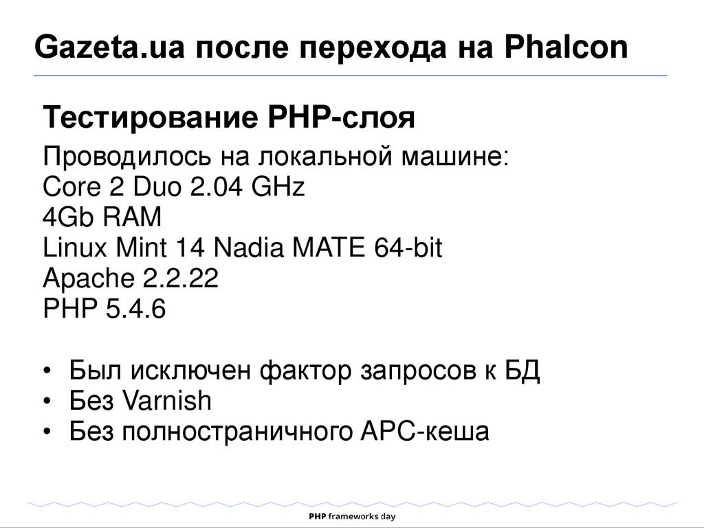 Тестирование PHP-слоя Проводилось на локальной ...