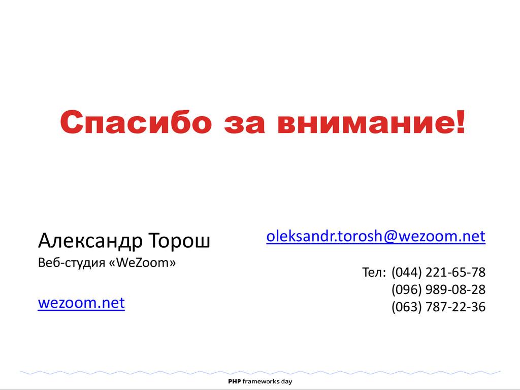 Спасибо за внимание! Александр Торош Веб-студия...
