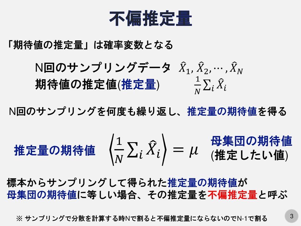 3 N回のサンプリングデータ  𝑋1 ,  𝑋2 , ⋯ ,  𝑋𝑁 期待値の推定値(推...