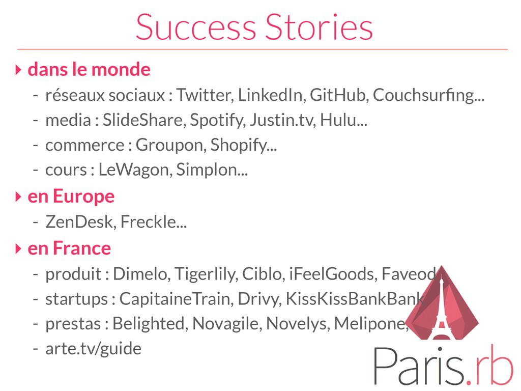 Success Stories ‣ dans le monde - réseaux socia...