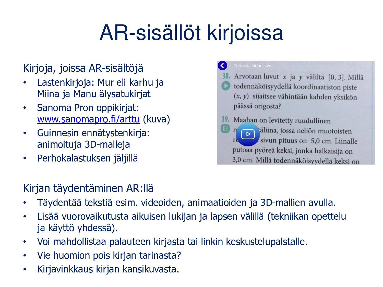 AR-sisällöt kirjoissa Kirjoja, joissa AR-sisält...