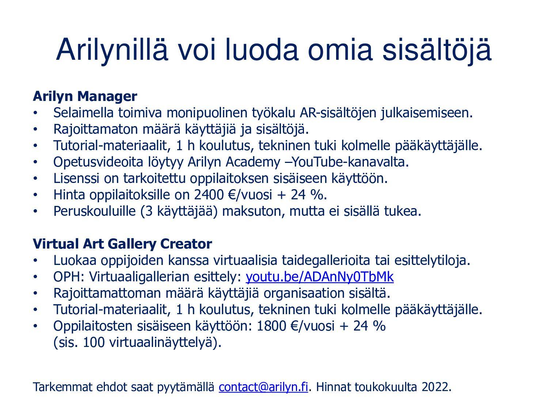 Arilyn-sovelluksesta löytyy vierailukohteita ku...