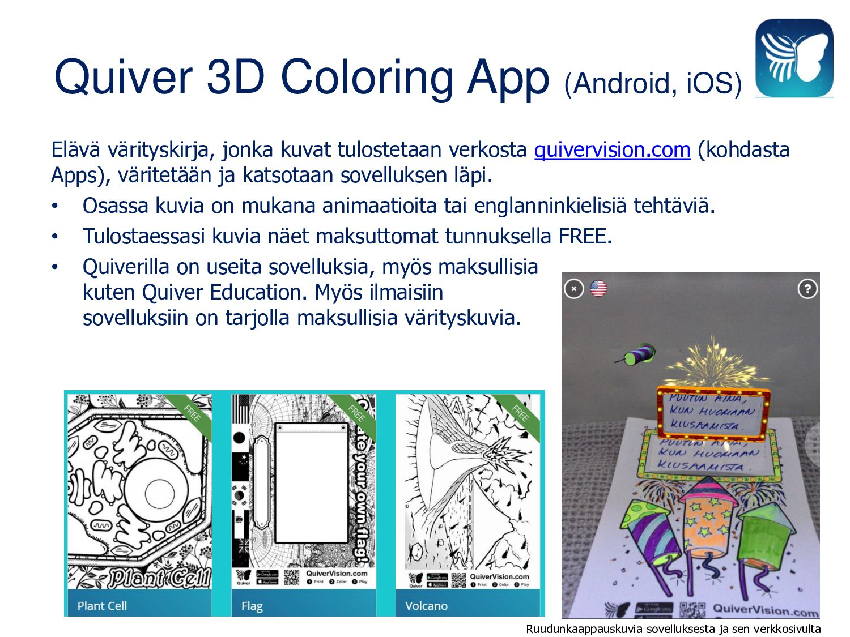 Quiver 3D Coloring App (Android, iOS) Elävä vär...