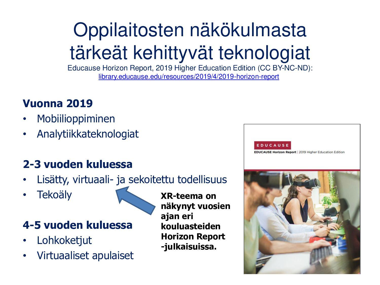 XR -teknologiat 2020 EDUCAUSE Horizon Report Te...