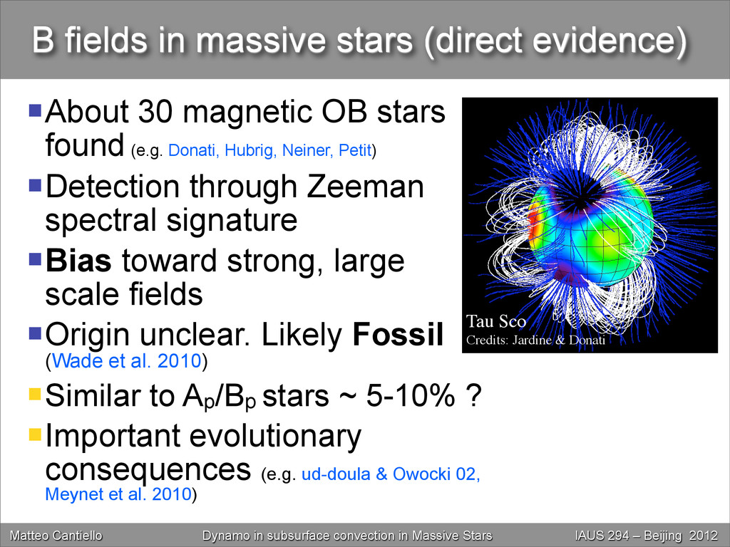 B fields in massive stars (direct evidence) Ab...