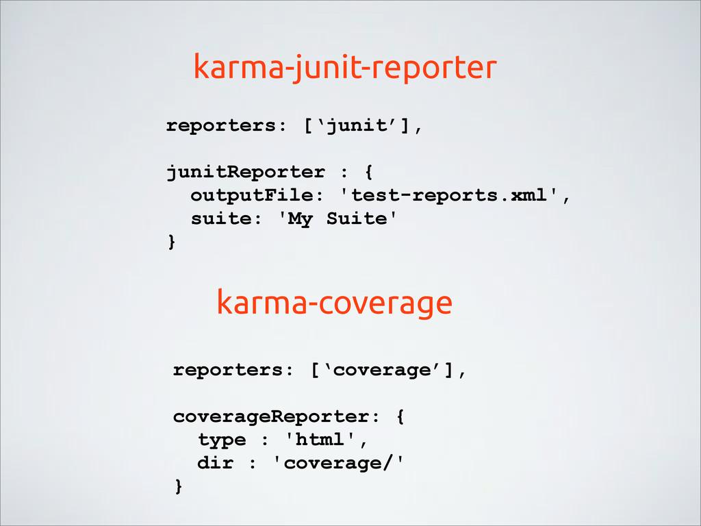 karma-junit-reporter karma-coverage reporters: ...