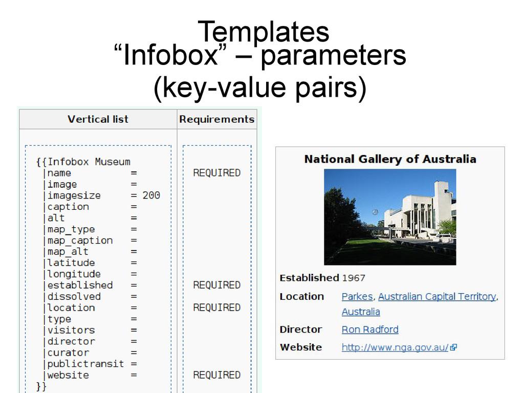 "Templates ""Infobox"" – parameters (key-value pai..."