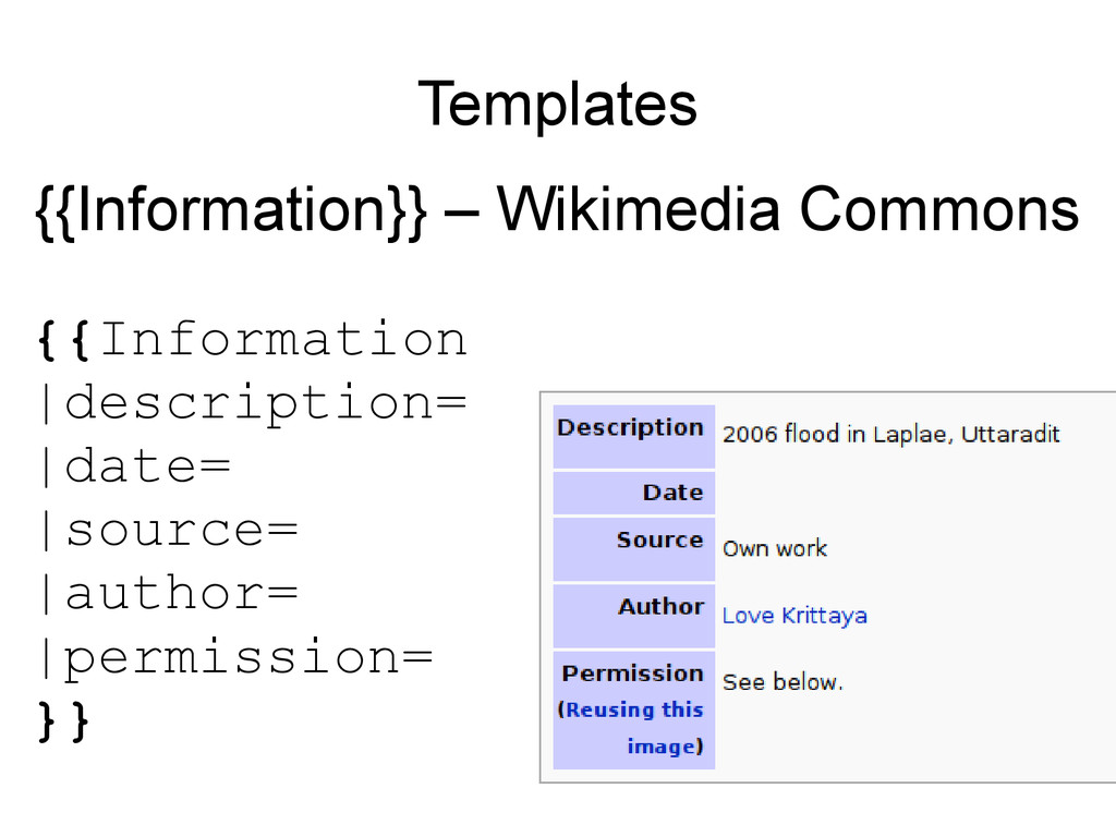 Templates {{Information}} – Wikimedia Commons {...