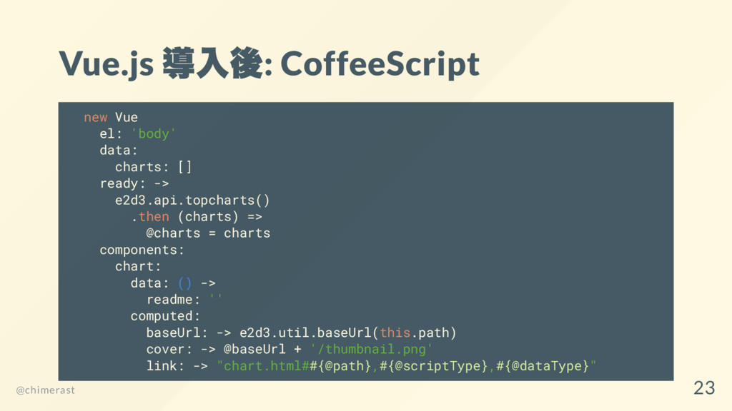 Vue.js 導入後: CoffeeScript new Vue el: 'body' dat...