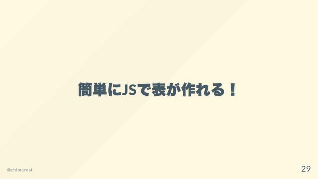 簡単にJS で表が作れる! @chimerast 29