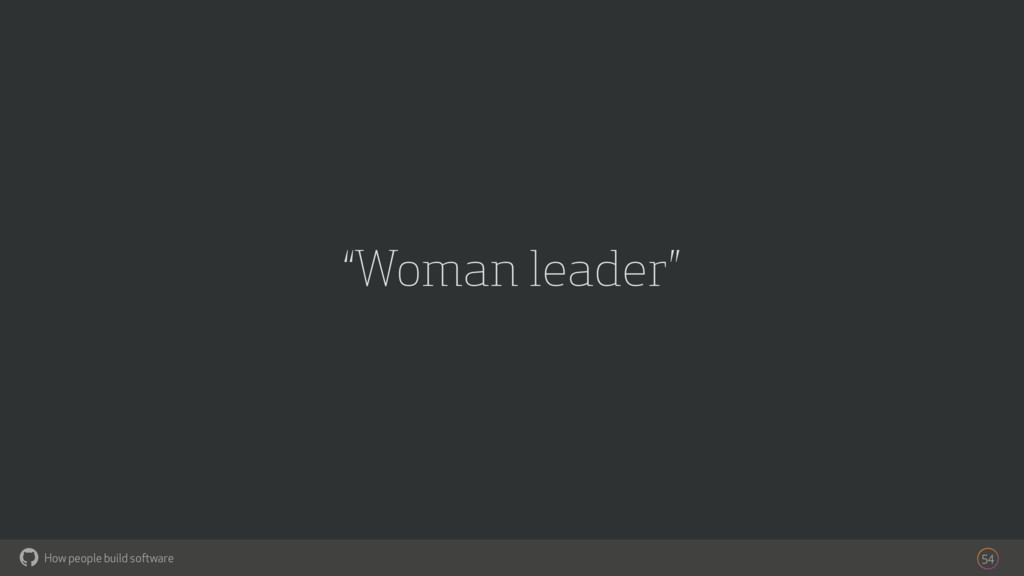 "How people build software ! ""Woman leader"" 54"