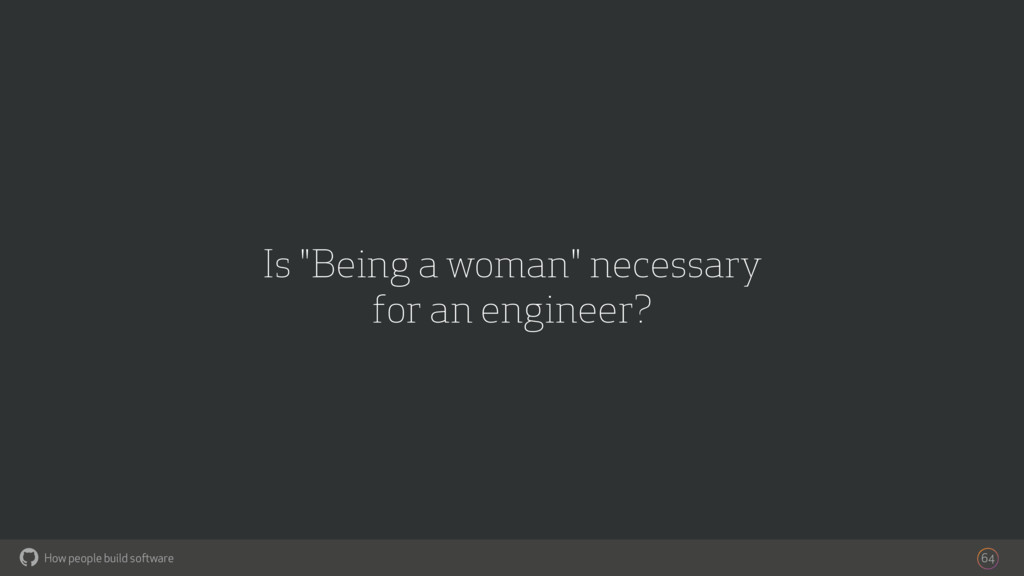"How people build software ! Is ""Being a woman"" ..."