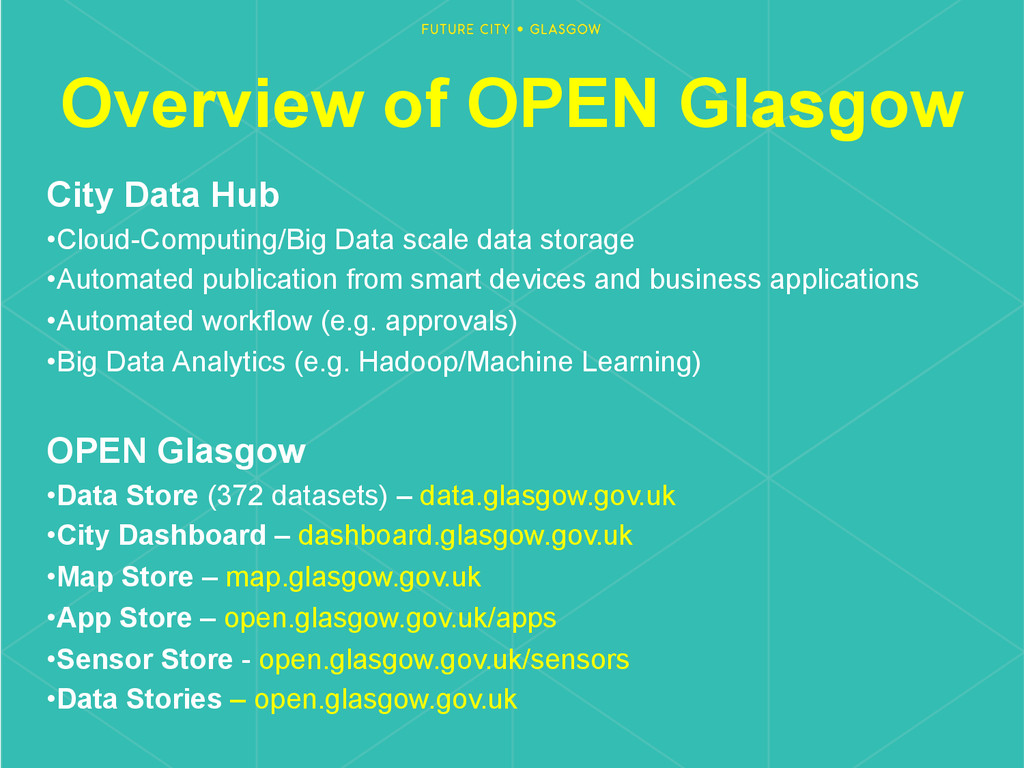 Overview of OPEN Glasgow City Data Hub •Cloud-...
