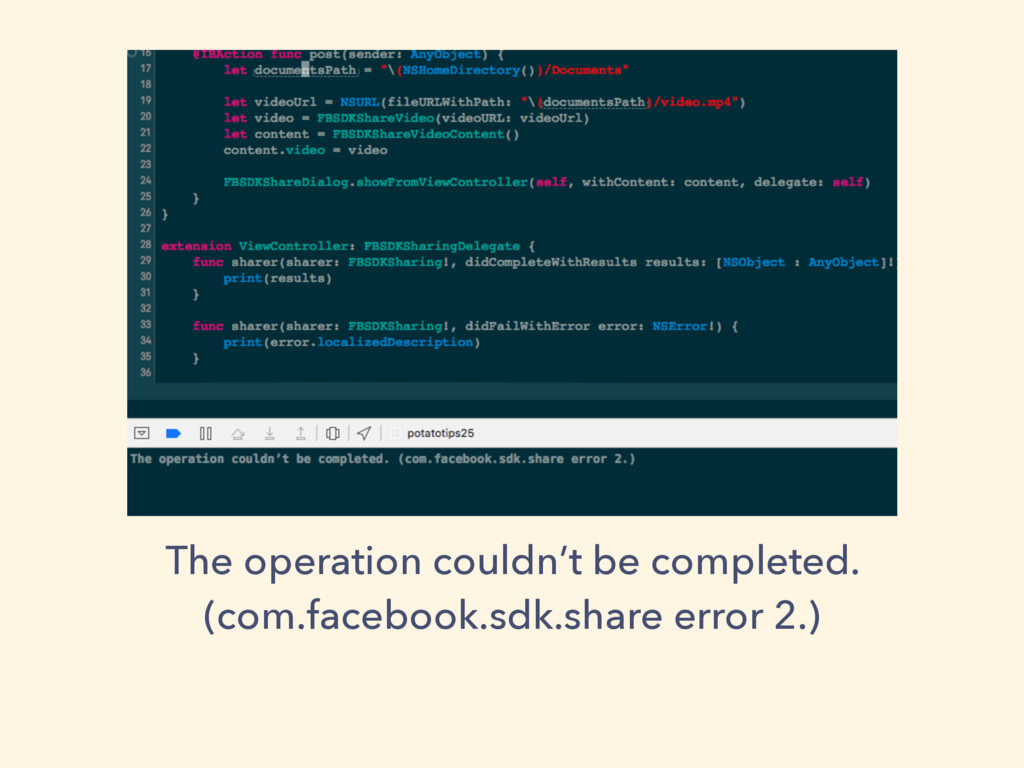 The operation couldn't be completed. (com.faceb...