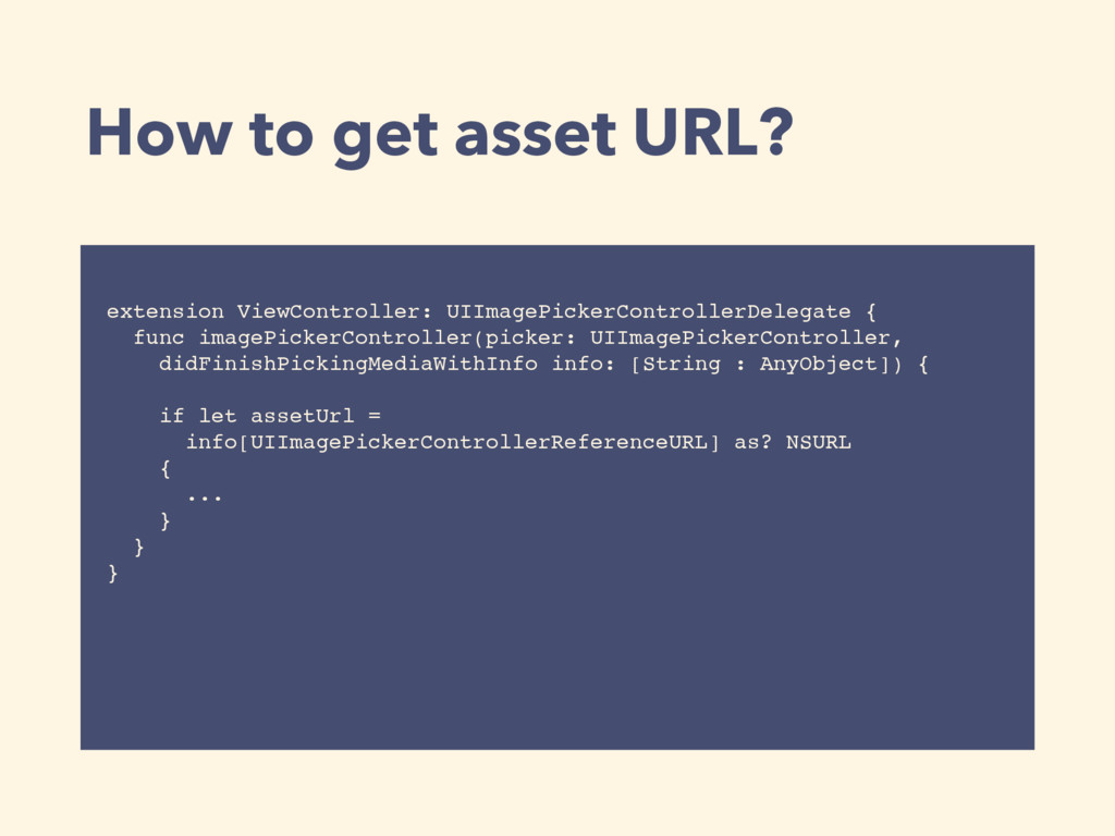 How to get asset URL? extension ViewController:...
