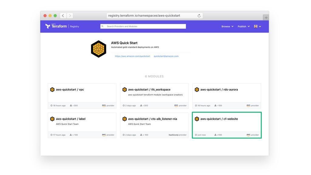 registry.terraform.io/namespaces/aws-quickstart