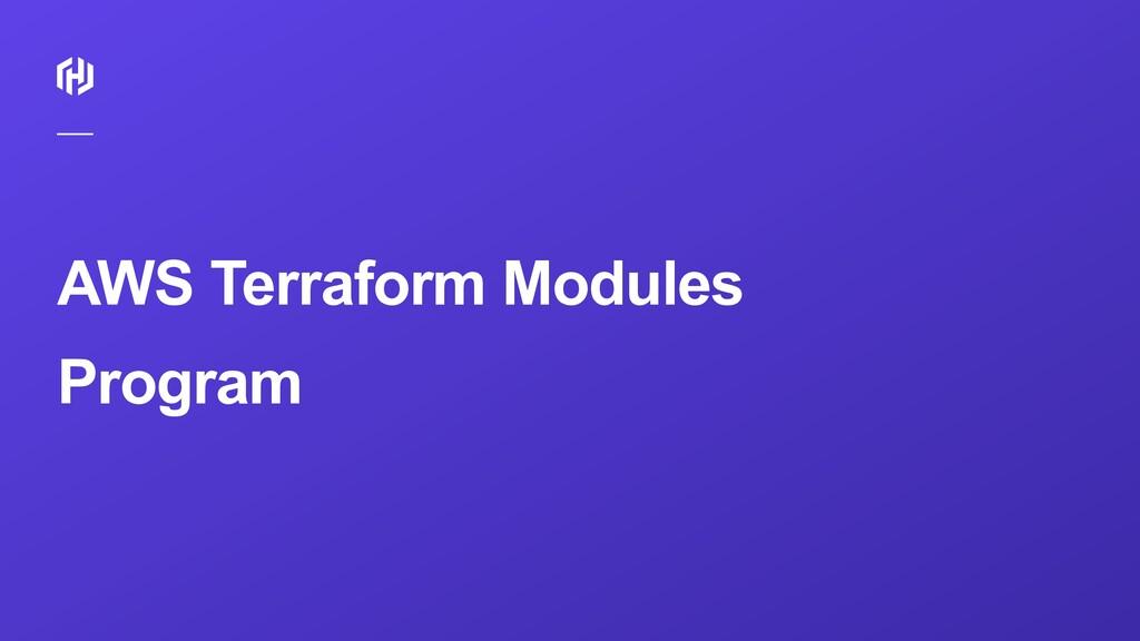 AWS Terraform Modules Program