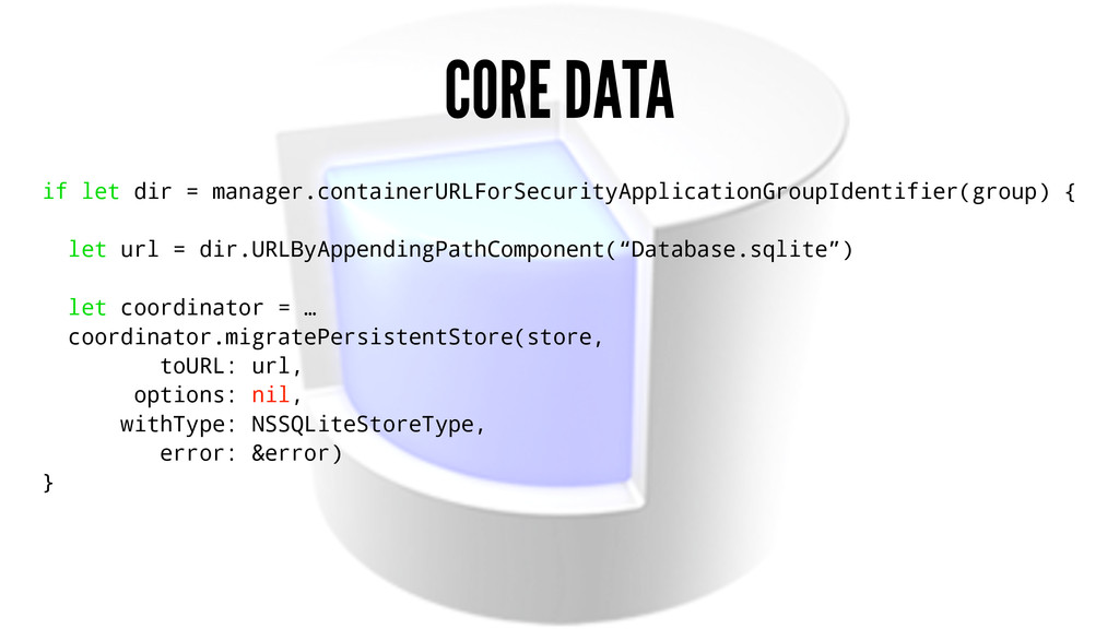 CORE DATA if let dir = manager.containerURLForS...