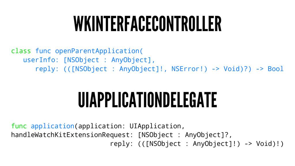 WKINTERFACECONTROLLER class func openParentAppl...