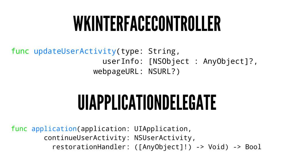 WKINTERFACECONTROLLER func updateUserActivity(t...