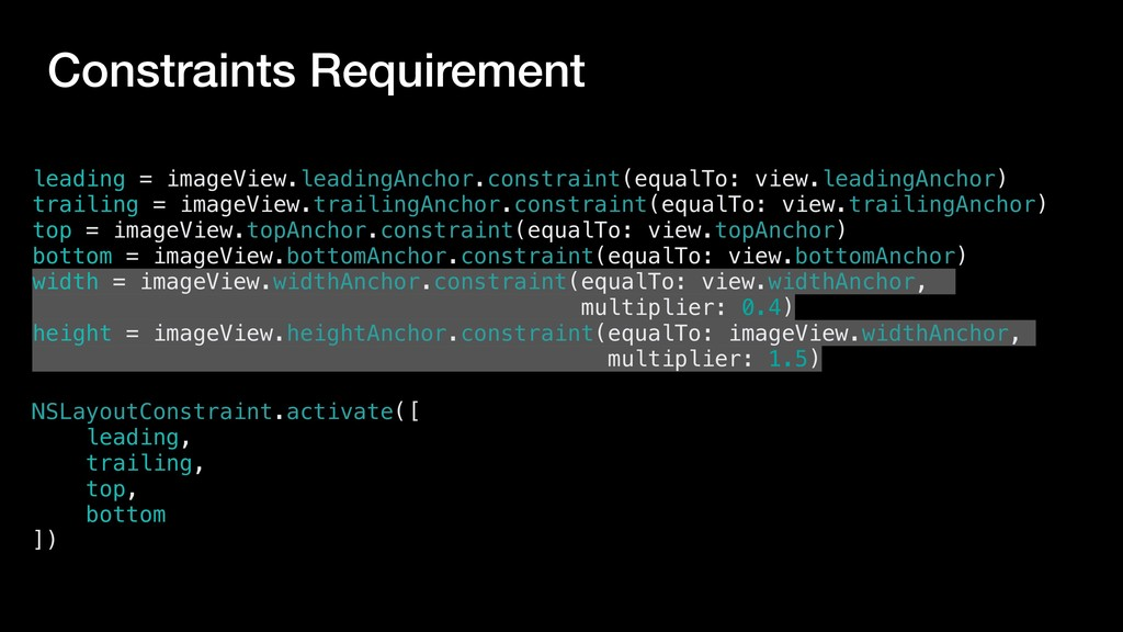 Constraints Requirement leading = imageView.lea...
