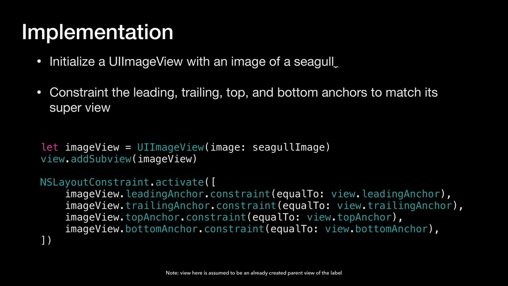 let imageView = UIImageView(image: seagullImage...
