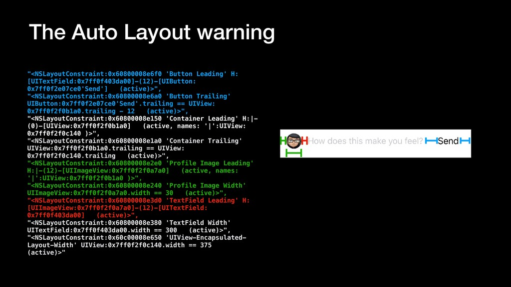 "The Auto Layout warning ""<NSLayoutConstraint:0x..."