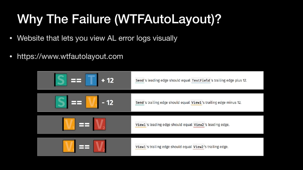 Why The Failure (WTFAutoLayout)? • Website that...