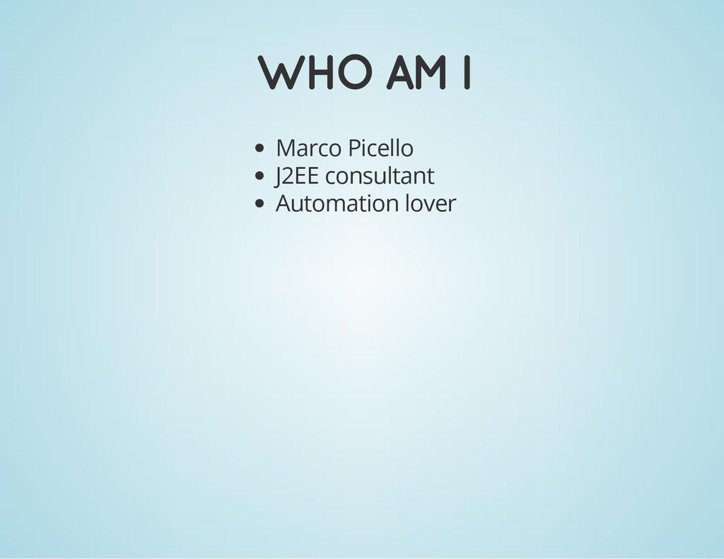 WHO AM I Marco Picello J2EE consultant Automati...