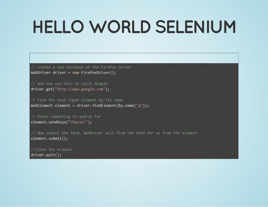 HELLO WORLD SELENIUM // Create a new instance o...
