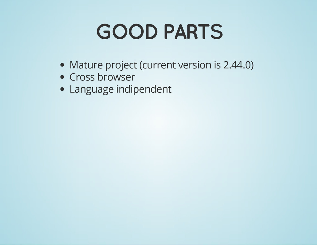 GOOD PARTS Mature project (current version is 2...