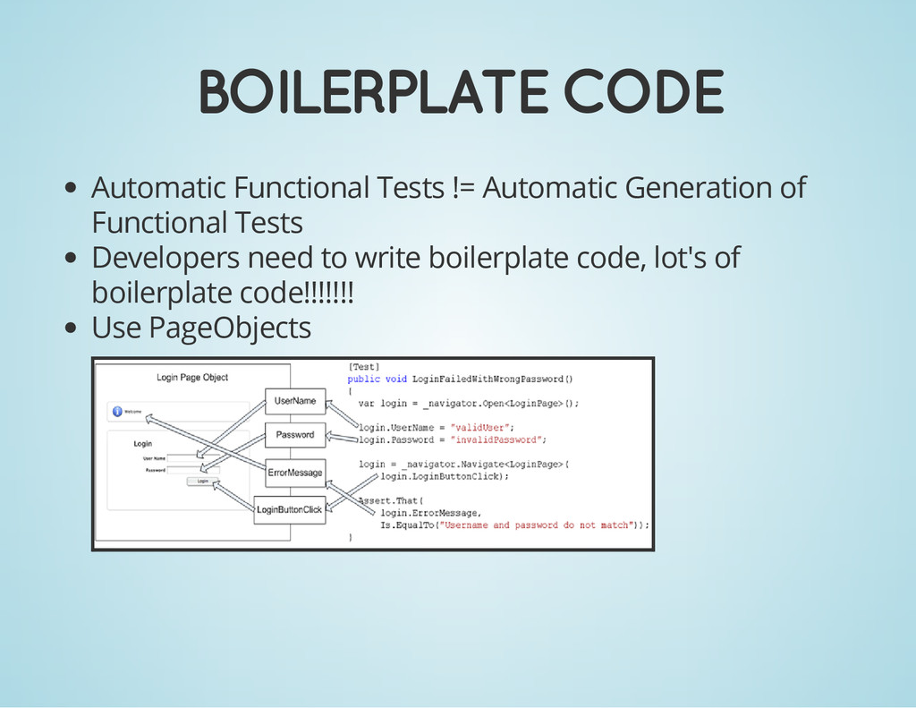 BOILERPLATE CODE Automatic Functional Tests != ...