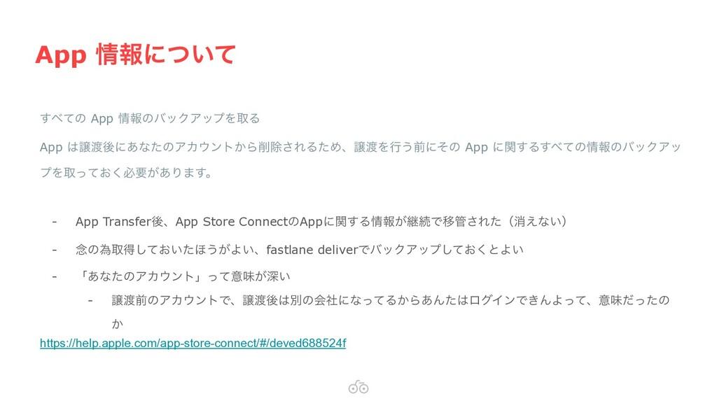 App ใʹ͍ͭͯ ͯ͢ͷ App ใͷόοΫΞοϓΛऔΔ App ৡޙʹ͋ͳͨͷΞ...
