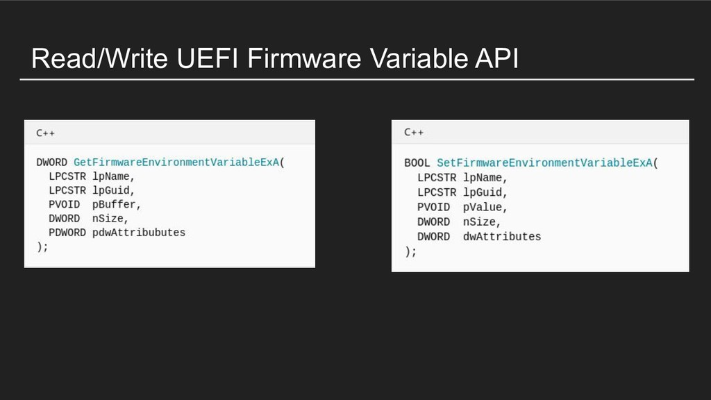 Read/Write UEFI Firmware Variable API