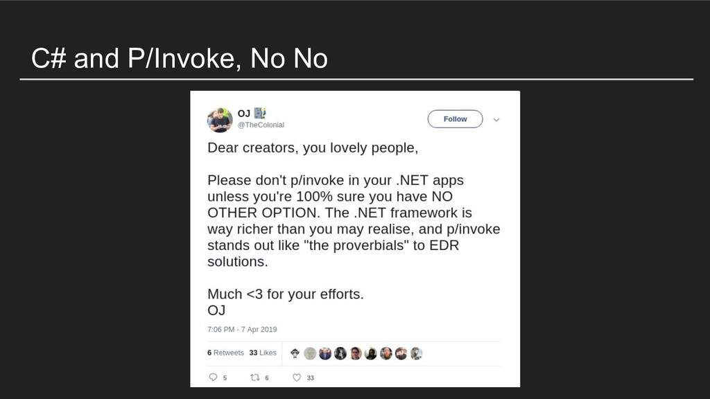 C# and P/Invoke, No No
