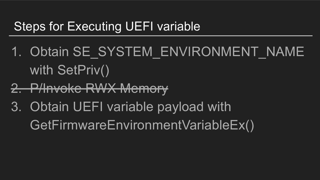 Steps for Executing UEFI variable 1. Obtain SE_...