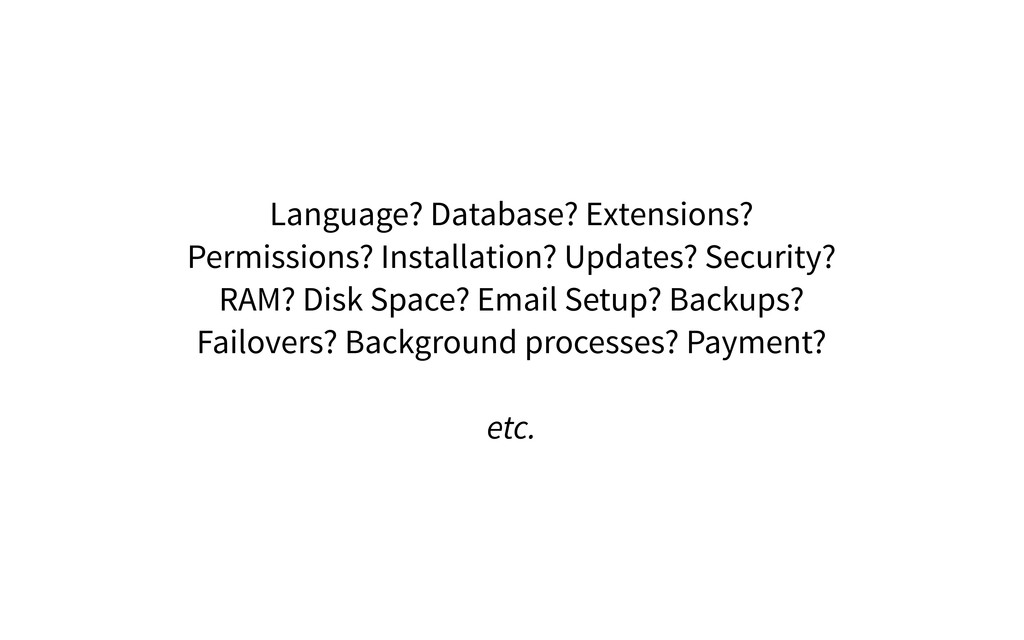 Language? Database? Extensions? Permissions? In...