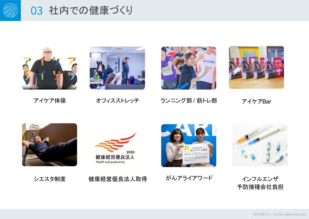 ©iCARE Co., Ltd All rights reserved 03 社内での健康づく...