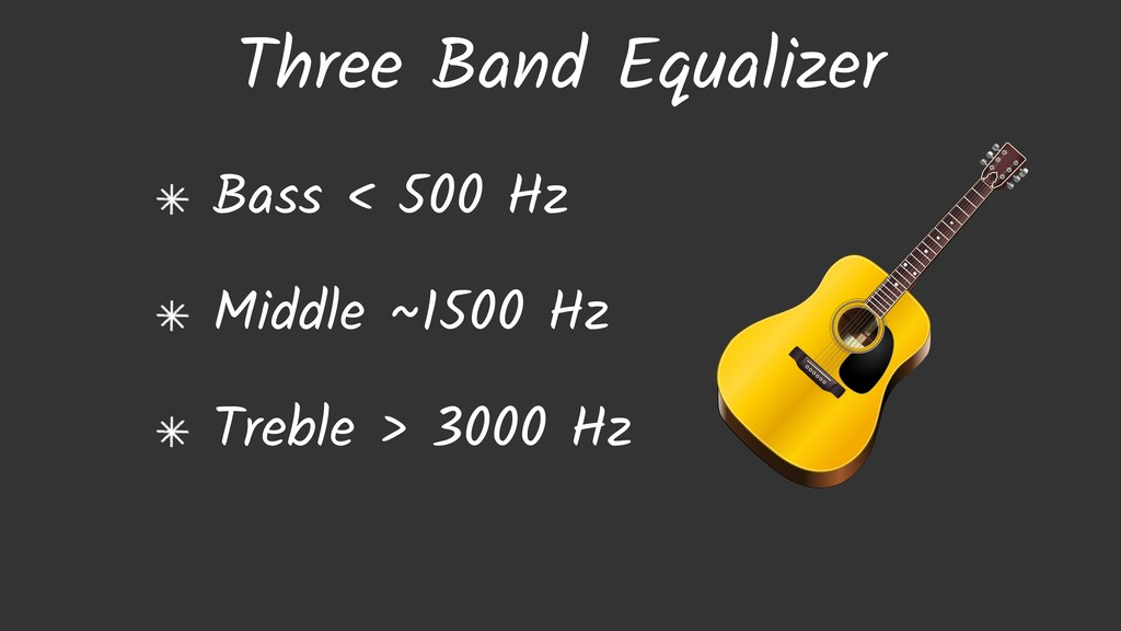 Three Band Equalizer Bass < 500 Hz Middle ~1500...
