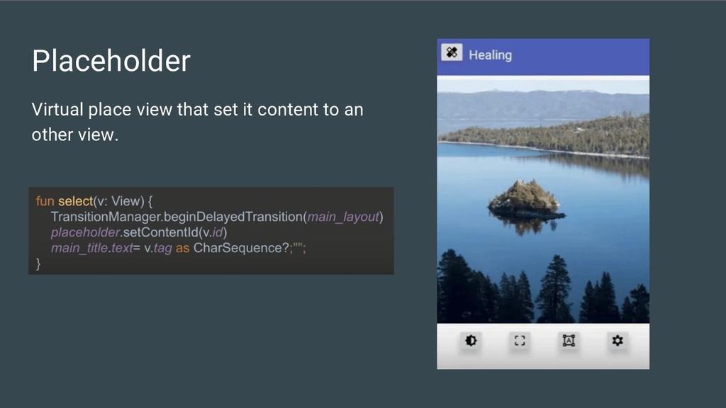 Placeholder Virtual place view that set it cont...