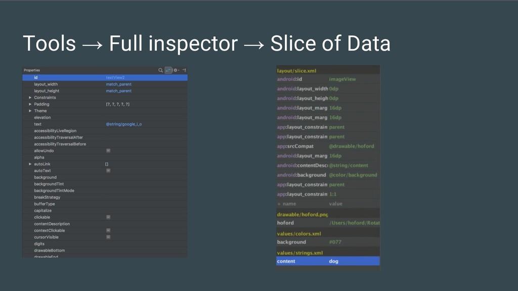Tools → Full inspector → Slice of Data