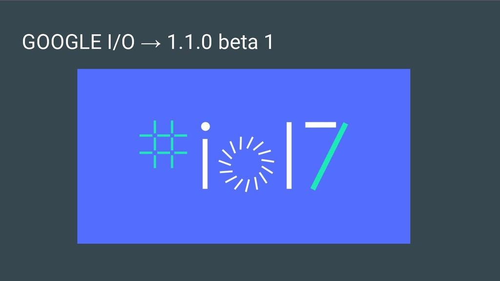 GOOGLE I/O → 1.1.0 beta 1