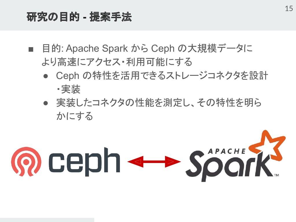 研究の目的 - 提案手法 15 ■ 目的: Apache Spark から Ceph の大規模...