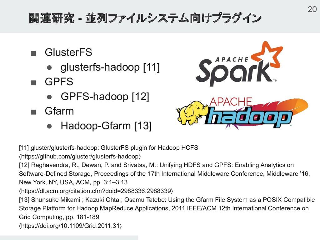 関連研究 - 並列ファイルシステム向けプラグイン ■ GlusterFS ● glusterf...
