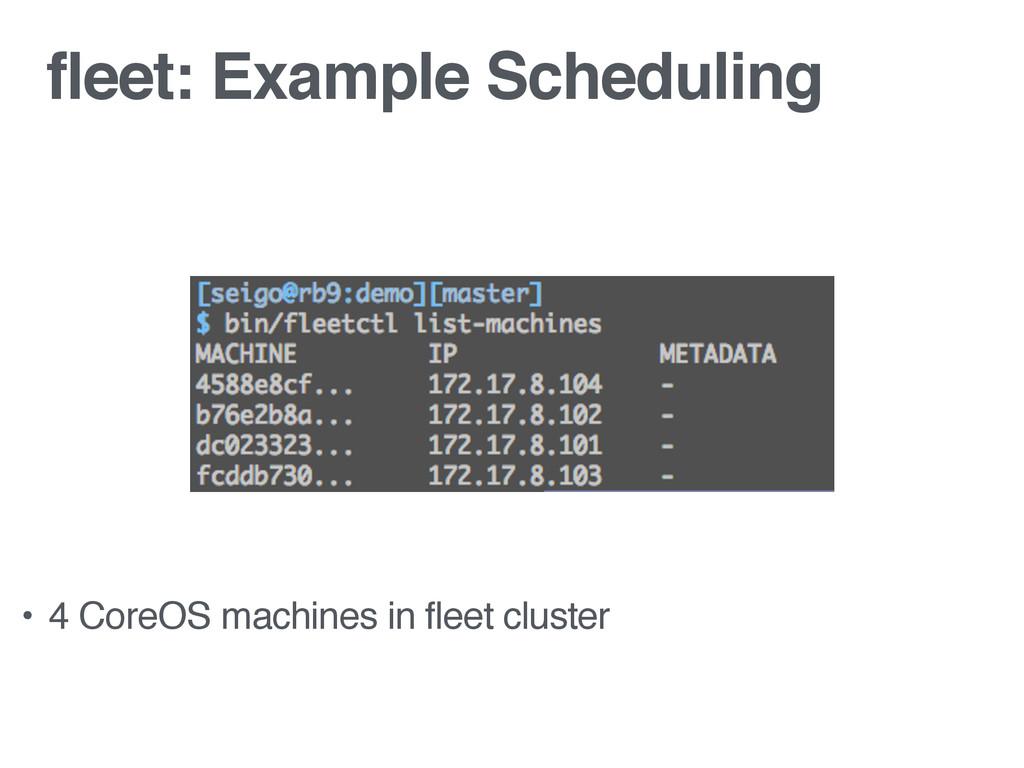 fleet: Example Scheduling • 4 CoreOS machines i...