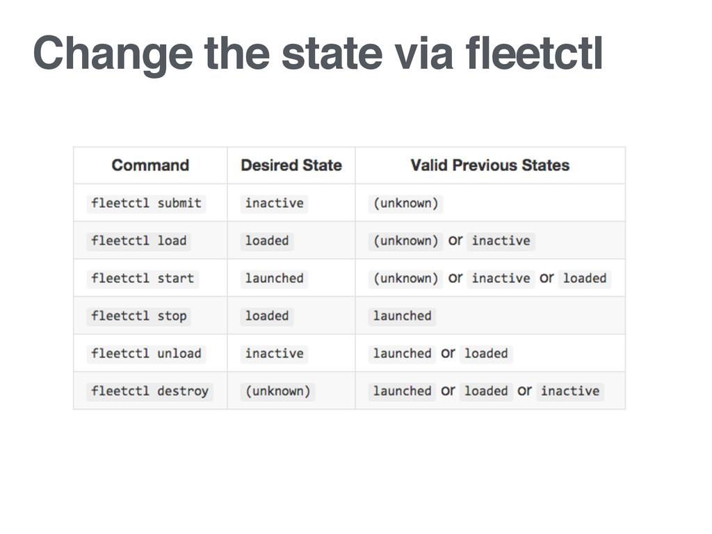 Change the state via fleetctl