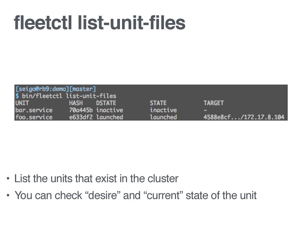 fleetctl list-unit-files • List the units that ...