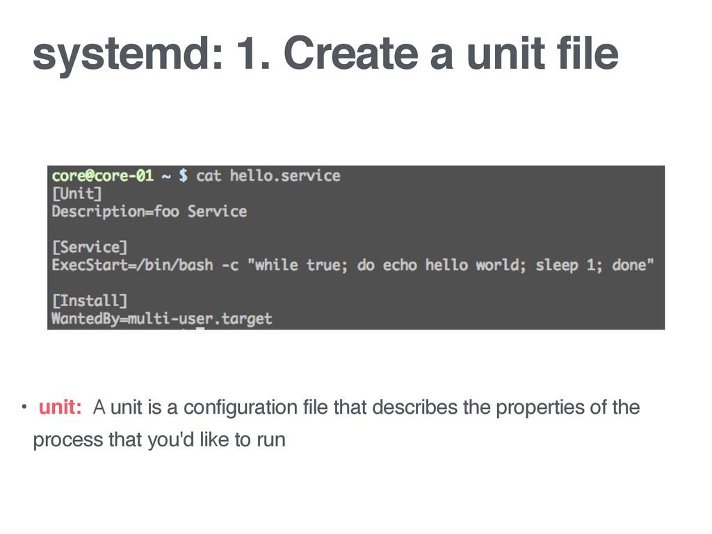 systemd: 1. Create a unit file • unit: A unit i...